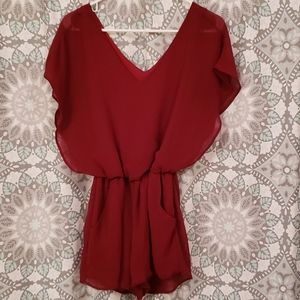 Juniors crimson red romper size small
